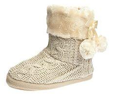 Pantuflas Para Mujer Zapatillas de estar por casa de mujer con bordes del tejido de punto y pompons Airee Fairee (Pequeño EU 36-37) S