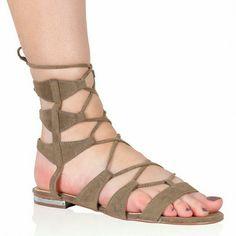 Boho Taupe Flat Gladiator Sandals