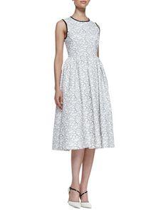 rena sleeveless bow-back dress, cream/black by kate spade new york at Neiman Marcus.