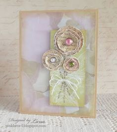 """to create the flowers I glimmer misted the white   cardstock, cut out circles, stamped text from   Text It stamp set and distressed edges using   paper distresser.  For stems I used stamp """"with love"""" from   Seasons of Love Tags stamp set."""