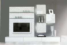 Furniture Mind - Contemporary Furniture | Modern Furniture - High Gloss White and Floral Print Unico Living Room Storage Solution