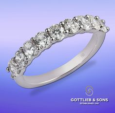Beautiful diamond anniversary band that features a row of shared prong set oval diamonds. Visit your local ‪#‎GottliebandSons‬ retailer and ask for style number 28915. http://www.gottlieb-sons.com/product/detail/28915