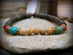 Mens bracelet beaded in a southwest rustic tribal design, by Stoneweardesigns