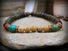Mens bracelet beaded in a southwest rustic tribal design, by Stoneweardesigns