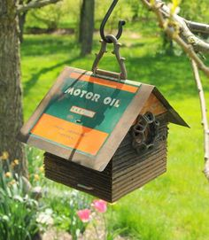 Birdhouse -Weathered Wood with vintage Coolpen Oil Can Tin roof.