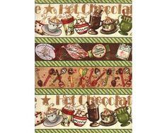 Patchworkstoff HOT CHOCOLATE, Längsbordüren mit winterlichen Heißgetränken, moosgrün