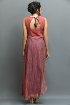 INDIAN ETHINIC, Salmon pink sleeveless angrakha kurta set