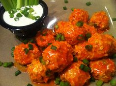 Buffalo Blue Chicken Meatballs-1/26/14 Having these for dinner tonight with roasted cauliflower and all I can say is if you like the flavor of wings...TRY THESE!!! They are AMAZING!!!  I just may over eat tonight :)