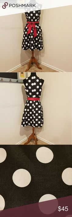 Black and white polka dress with red sash belt Tea length dress with pockets. Perfect for a holiday party. 14 inch waist; 38 inches long from top to bottom. NWOT Chelsea Rose Dresses