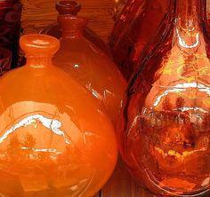 Orange glass bottles