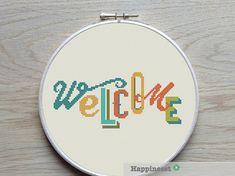 modern cross stitch pattern WELCOME cross stitch par Happinesst