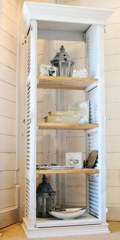 In LOVE with this bookshelf! decor be& Repurposed shutters. In LOVE with this bookshelf! decor beach decor The post Repurposed shutters. In LOVE with this bookshelf! decor be& appeared first on Farah& Secret World. Redo Furniture, Home Diy, Furniture Diy, Diy Shutters, Diy Furniture, Shutters Repurposed Decor, Repurposed Furniture, Diy Home Decor, Home Decor