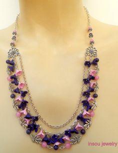 Plum jewelry  Rose jewelry  Multi strand necklace  by insoujewelry
