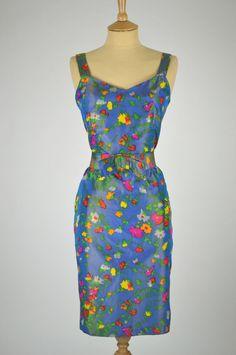 Vintage Dress by Dolores Couture Blue Floral Taffeta with Original Bow Belt Waist) Bow Belt, Orange, Yellow, Vintage Dresses, 1960s, Floral Design, Bows, Couture, Summer Dresses