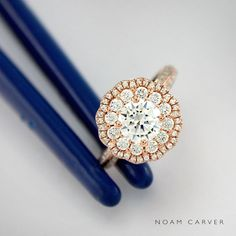 outstanding rose gold and diamand floral engagement ring
