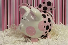 Personalized Ceramic Piggy Bank by OodlesOfOrnaments on Etsy Penny Bank, Cute Piggies, Miss Piggy, This Little Piggy, Money Box, Joy To The World, Pink Flamingos, Paper Mache, Gifts For Kids