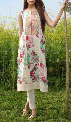 Buy Off-White Embroidered Cotton Lawn Dress by Khaadi 2016 Salwar Designs, Blouse Designs, Pakistani Outfits, Indian Outfits, Salwar Kameez, Churidar, Nice Dresses, Casual Dresses, Eastern Dresses