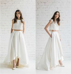 Two piece wedding dress Lily.  Skirt . Full pleats luxurious ivory Mikado skirt featuring high-low hem cascades into a subtle train. Perfect for bride prefering to show Your shoes ! Skirt is pretty heavy but very comfortable to wear ! - side pockets; - zipper at the back ;  We paired this skirt with Mikado top crop accented with beaded lace in front . It is a crop top, shorter in front and longer at the back. Back closure with three pearl buttons. Will be made specially for You ,Your size…