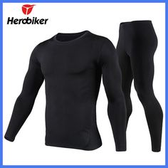 Herobiker Men's Fleece Lined Thermal Underwear Set Motorcycle Cycling Skiing Base Layer Winter Warm Long Johns Top & Bottom Suit