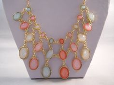 3 Row Bib Necklace with Glass and Gold Tone Beads by maryannsway on etsy