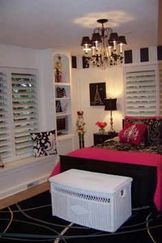 Very sophisticated teen dancer's room. You could use zebra instead of the scroll pattern. Love the chandelier!