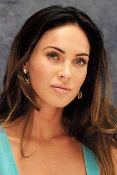 Megan Fox nude lips blue eyes gold earrings brown hair