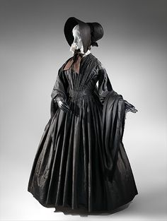 Mourning dress Met Museum  Date: ca. 1845 Culture: American Medium: silk Credit Line: Brooklyn Museum Costume Collection at The Metropolitan Museum of Art, Gift of the Brooklyn Museum, 2009; Gift of Nathalie Swift, 1969 Accession Number: 2009.300.7703