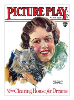 """""""Picture Play"""" magazine, March 1929 - Cover illustration featuring June Collyer painted by Modest Stein"""
