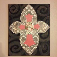 Cross canvas! Painted the canvas and made the crosses with scrapbook paper then modge podge!!