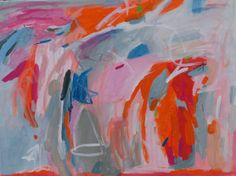 large abstract painting pick painting orange and pink by pamelam, $380.00