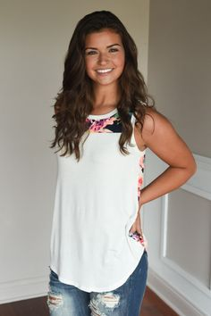 Don't Be Shy Floral Tank Top ~ White – The Pulse Boutique
