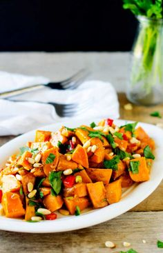 Photo of a Roasted Sweet Potato Salad on a rugged backgrount