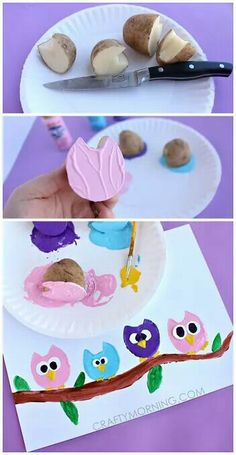 Owl craft with potatoes