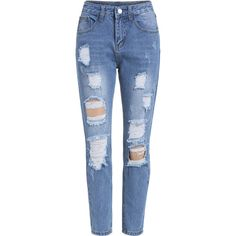 Ripped Denim Blue Pant (290 UYU) ❤ liked on Polyvore featuring jeans, pants, bottoms, blue, calças, destructed jeans, distressing jeans, torn jeans, distressed denim jeans and destruction jeans