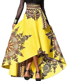 African Fashion Printing Short Front Long Tail Flowing Skirts High Waist Umbrella Shape A-line Bust Skirt S-XL Women Long Skirt Long Skirts For Women, Long Maxi Skirts, Boho Skirts, Skater Skirts, Jupe Swing, Swing Skirt, Rock Style, Swing Rock, Cheap Plus Size Lingerie