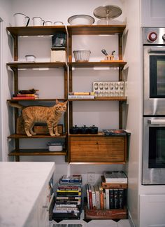 Using the west elm Mid-Century shelving system in a kitchen nook creates a beautiful place to display your favorite kitchen tools!