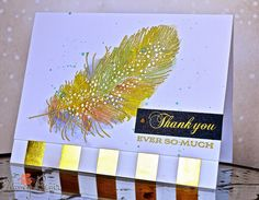Feather Finery embossed in gold (dots in silver), Gold Luxe Foil PP, Artful Notions