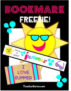 FREEBIE!  Summer Fun book mark.  Free bookmark is perfect for last day of school. Enjoy! #freebie #bookmark