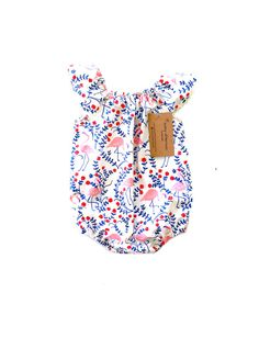 b92ea07d1da7 Baby girl romper Classic bubble romper with flutter sleeves made of 100%  organic cotton.