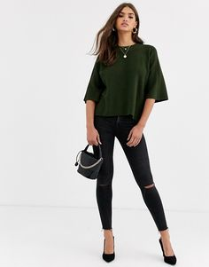 River Island jumper with shoulder zip detail in khaki Fall Winter, Autumn, River Island, Jumper, Latest Trends, Asos, Skinny Jeans, Zip, Detail