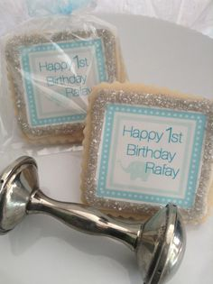 Boy Baby Shower custom cookie party favors by StoneHouseOven