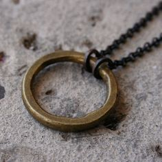 Antique African Ring Necklace Boho Rustic Brass
