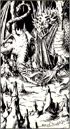 The old troglodyte chief keeps 2 wyverns to ride into battle. (Erol Otus from AD&D module D1-2: Descent into the Depths of the Earth, by Gary Gygax, TSR, 1981.)