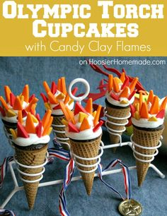 Olympic Torch Cupcakes with Candy Clay Flames--Made with sugar ice cream cones, cupcakes, frosting and candy clay for the fire, are fun to make and fun to eat! Olympic Games For Kids, Olympic Idea, Winter Olympic Games, Kids Olympics, Summer Olympics, Special Olympics, 2020 Olympics, Tokyo Olympics, Sweets