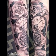 black and gray half sleeve tattoos clocks - Google Search