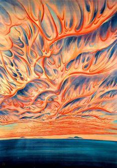 """Chiura Obata, """"Setting Sun- Sacramento Valley,"""" 1925."""