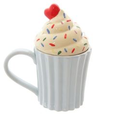 Amazon.com | Cutesy Cupcake Ceramic Mug with Lid: Coffee Cups & Mugs
