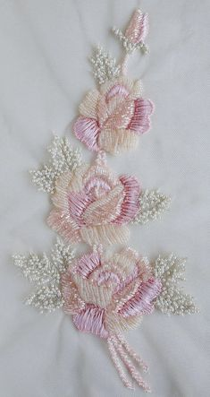Abstract Embroidery, Bead Embroidery Patterns, Embroidery On Clothes, Flower Embroidery Designs, Rose Embroidery, Silk Ribbon Embroidery, Embroidery Kits, Embroidery Stitches, Embroidery Supplies