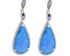 Round Tear Drop Blue Opal Dangle Drop Diamond Cz Drop Earrings Solid 925 Sterling Silver Gift Trendy Jewelry