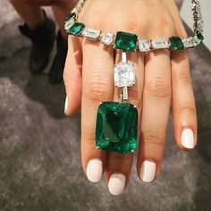 Colombian emeralds, one nearly 40 carats.